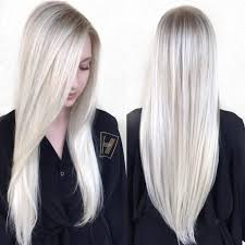 v cut layered hair women s sleek platinum blonde hair with side part and v cut layers