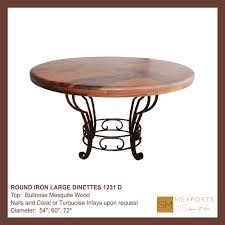 Iron Base Dining Table 060 Round Iron Large Dinette Scalloped Mesquite Wood Top Mod 1231