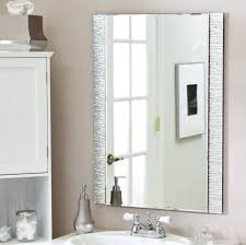 bathroom elegant white tone frameless rectangular bathroom mirror