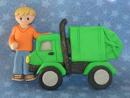 garbage truck christmas ornament worker trash collector can