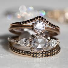 black diamond wedding ring fairy light curved demi pavé black diamond catbird