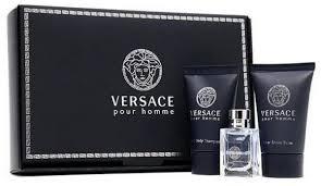 men set versace pour homme 3 pc mini gift set for men with perfume shower