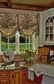 Country Style Kitchen Curtains And Valances Farmhouse Kitchen With Scenic Balloon Valances Rustic Luxury