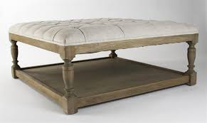Distressed Oak Coffee Table Square Tufted Linen Oak Coffee Table Ottoman Kathy Kuo Home