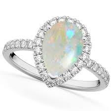 opal and diamond engagement rings cut halo opal diamond engagement ring 14k white gold 1 54ct
