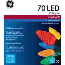 led light for christmas walmart ge staybright led c5 multi color christmas lights 70 count