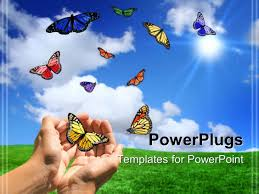 powerpoint template ten variously colored butterflies and hands