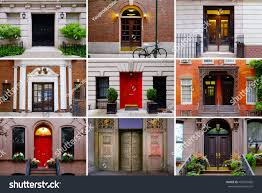 new york house photo collage colorful front doors manhattan stock photo 406210066