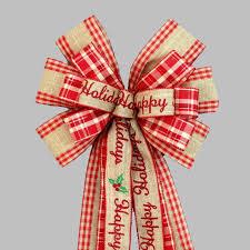 burlap christmas happy holidays rustic burlap christmas wreath bow 10 wide