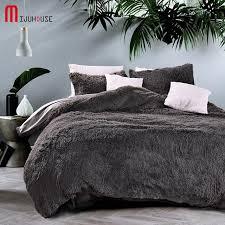 Comfortable Bed Sets New Velvet Mink Velvet Bedding Set Gray Duvet Cover Comfortable