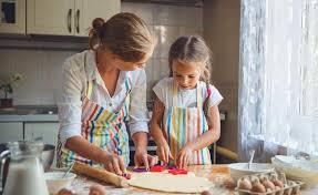 mere et fille cuisine la mère et la fille heureuses de famille font la pâte cuire au four
