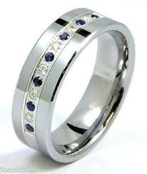 modern mens wedding bands diamond sapphire tungsten modern men s wedding ring band 8mm 0 25
