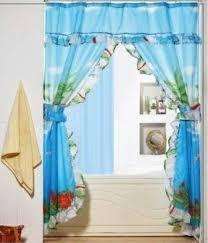 Double Swag Shower Curtain With Valance Tropical Bathroom Valances Brightpulse Us
