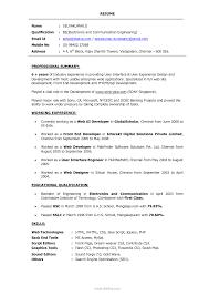 Sample Dot Net Resume For Experienced Experience Resume Sample For Web Developer Unique Sample Resume