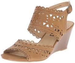 amazon com xoxo women u0027s sunday wedge sandal tan 8 5 m us