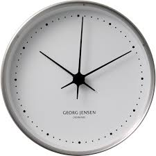 georg jensen koppel 22 cm wall clock stainless steel with white