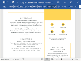 resume templates in word 2016 crisp clean resume template for word