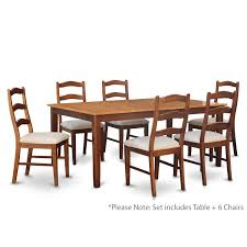 east west furniture henl7 brn c henley 7 piece cinnamon espresso