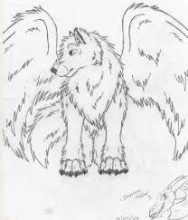 winged wolf sketch notfinished by drawingmaster1 on deviantart