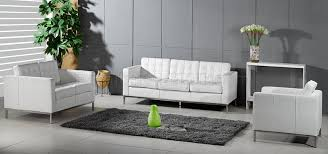 White Tufted Loveseat Full Leather Button Tufted Sofa Loveseat U0026 Chair Set