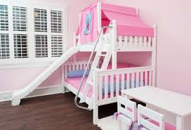 Slide Bunk Bed Bedroom With Pink Walls And Bunk Bed Featured Slide Bunk
