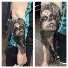 sugar skull pinup by dean lawton tattoonow