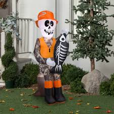 halloween outdoor decoration gemmy airblown inflatable 5 5 u0027 x 2 u0027 fishing skeleton halloween