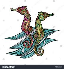 color sea horses on stock vector 394284706