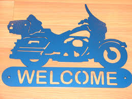 harley davidson motorcycle welcome sign home decor wall biker