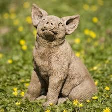 pig cast garden statue