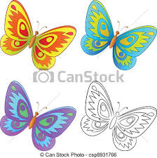 butterfly set multi coloured and graphic monochrome clip