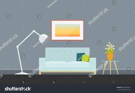 illustration modern living room sofa torchere stock vector