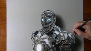 drawing time lapse iron man hyperrealistic art youtube