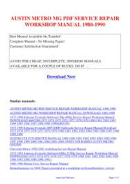 austin metro mg service repair workshop manual 1980 1990 by hui