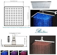 multi color changing stylish solid brass shower heads brushed stainless steel led light shower head ceiling