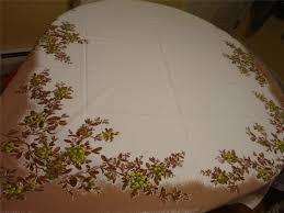 Christmas Table Cloths by California Hand Print Mistletoe Vtg Christmas Tablecloth