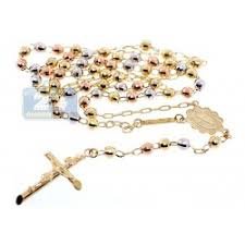 mens rosary three tone gold mens rosary necklace 5 mm 17 inches