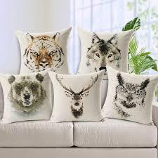 Stag Cushions 12 Styles Mosaic Animals Deer Fox Panda Bear Tiger Bee Bird Pillow