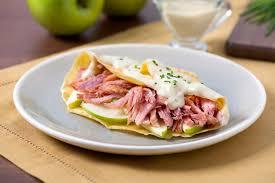 ham apple u0026 cheddar crepes pork recipes pork be inspired