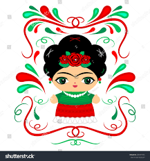 mexican doll decorative background vector illustration stock