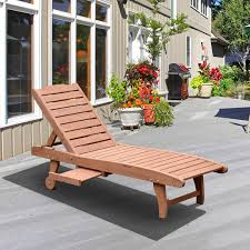 Patio Umbrellas Toronto by Outsunny Wooden Chaise Lounge Outdoor Patio Furniture Adjustable W