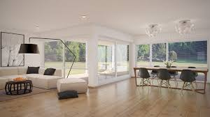 Living Room Flooring by Luxurious White Open Floor Living Room And Dining Room With Wooden