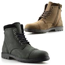 mens brown biker boots mens new leather combat zip up ankle cowboy military army biker