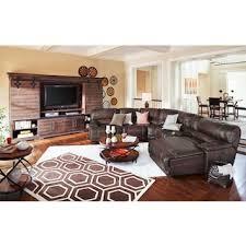 Leather Living Room Furniture American Signature Furniture - Living room design with brown leather sofa