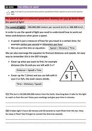 speed of light worksheet dcjsss by erhgiez teaching resources tes