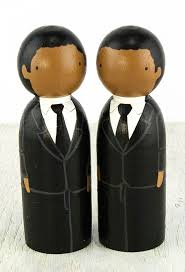 wooden peg doll wedding cake topper african american grooms