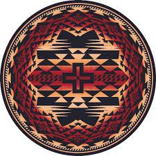 Black Circle Rug Southwest Rugs 8 Ft Round Rustic Cross Burnt Red Rug Lone Star