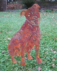 pit bull garden stake or wall hanging memorial metal rust