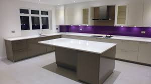 beautiful purple kitchen ideas with brown cabinet and cream wall