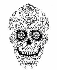 five different sugar skull coloring pages printable digital